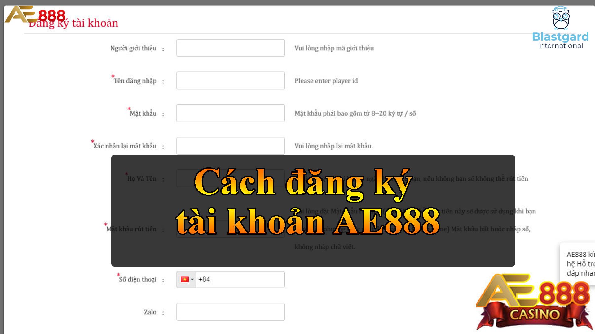 Cách đăng ký tài khoản AE888