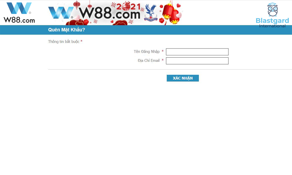 Quên mật khẩu W88