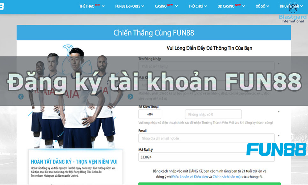 Cách đăng ký tài khoản Fun88