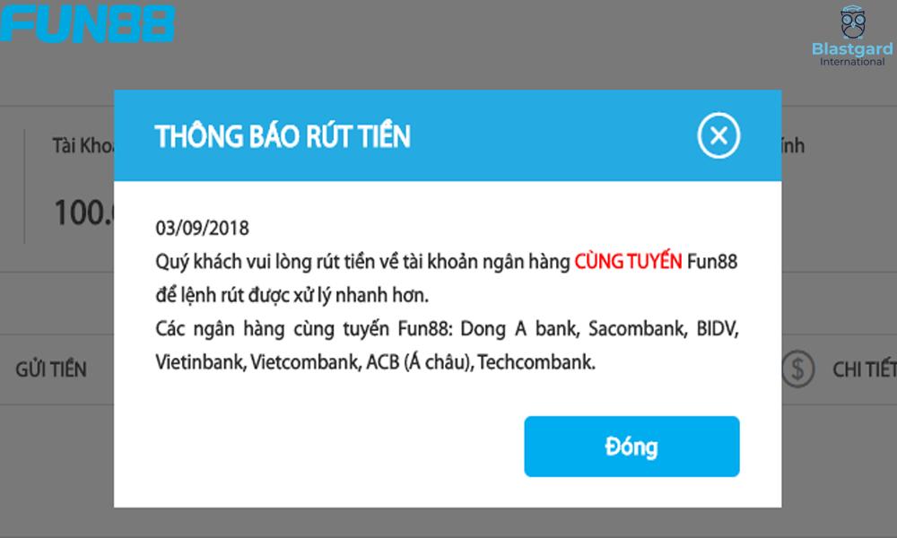 Những ngân hàng rút tiền Fun88