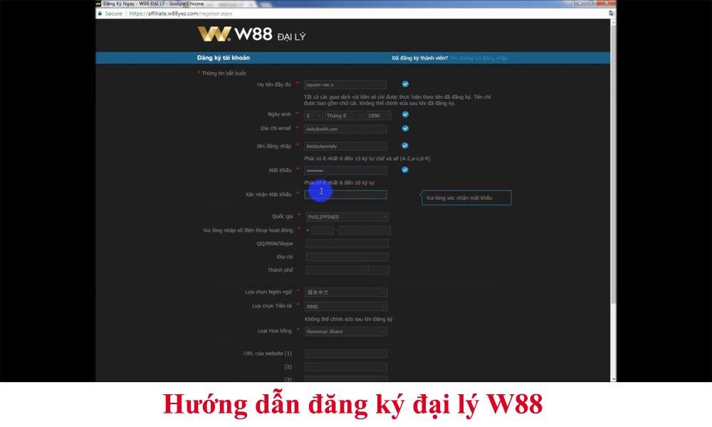 Hướng dẫn đăng ký đại lý W88